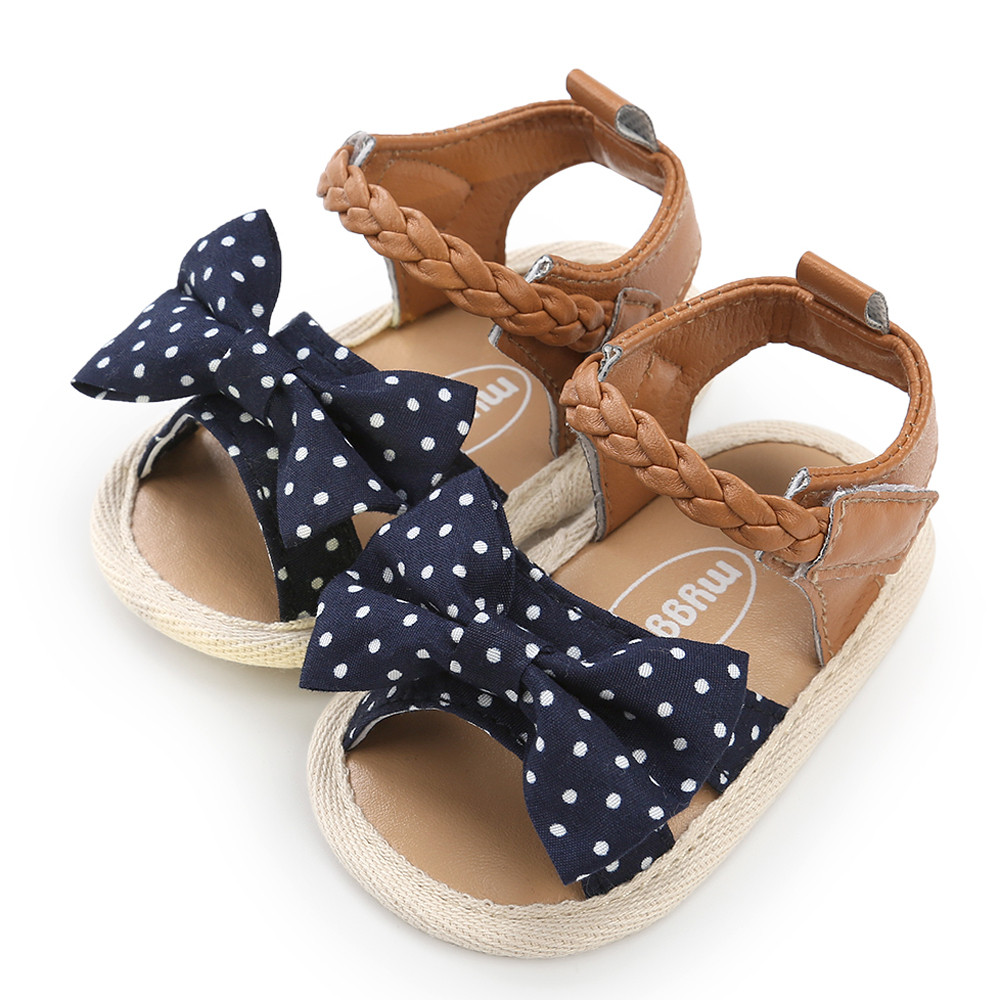 Baby Girls Woven Sandals Shoe Cute Lace Bow Casual Shoes Sneaker Anti-slip 2020 Summer Soft Sole Shoes Toddler Convenient Velcro