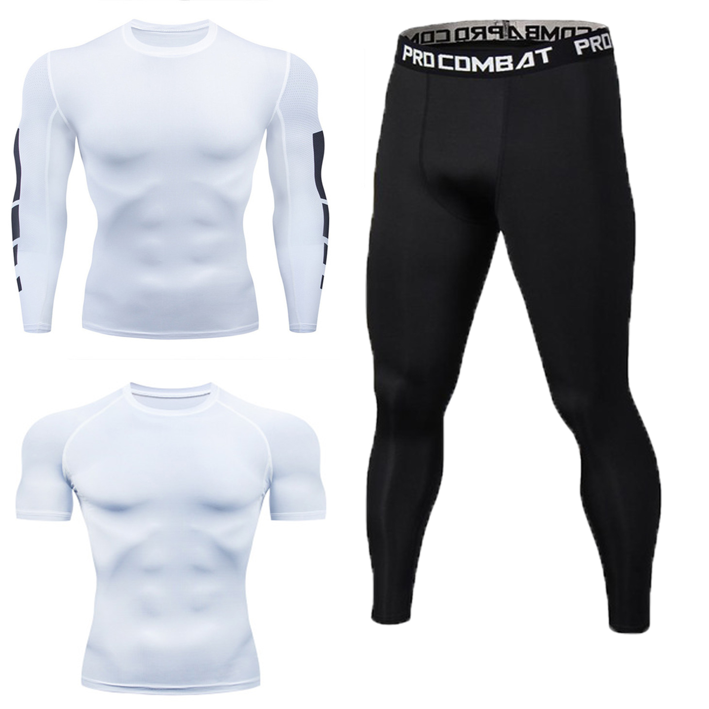 Sports Set Men Elasticity Quick-drying T-shirt Gym Pro Workout Clothes Three-piece Set-Compression Running Clothing