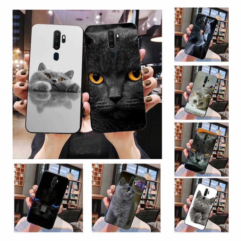 NBDRUICAI British Shorthair cat Soft Silicone Black Phone <font><b>Case</b></font> For <font><b>Oppo</b></font> <font><b>A5</b></font> A9 <font><b>2020</b></font> A11x A71 A73S A1K A83 <font><b>case</b></font> image