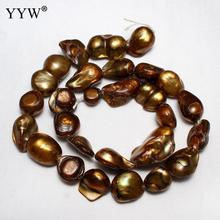 11-12mm Coffee Nuggets Loose Pearl Beads Cultured Baroque Freshwater Pearl Beads Diy Jewelry Making Bead Pearls 0.8mm 15 Inch