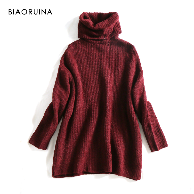 REJINAPYO 15 Color Women Fashion Solid Casual Knitted Sweater Female Turtleneck Oversized Pullover Ladies Elegant Loose Sweater 7
