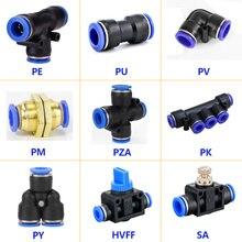 1PCS Pneumatische Armaturen PY/PU/PV/PE/HVFF/SA Luft Schlauch Schnell Kupplungen 4mm bis 12mm Wasser Rohr Anschluss Pneumatische Teile Push-in