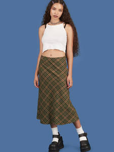 Allneon Mermaid-Skirts Bottoms Streetwear Plaid Chic E-Girl Vintage High-Waist Women