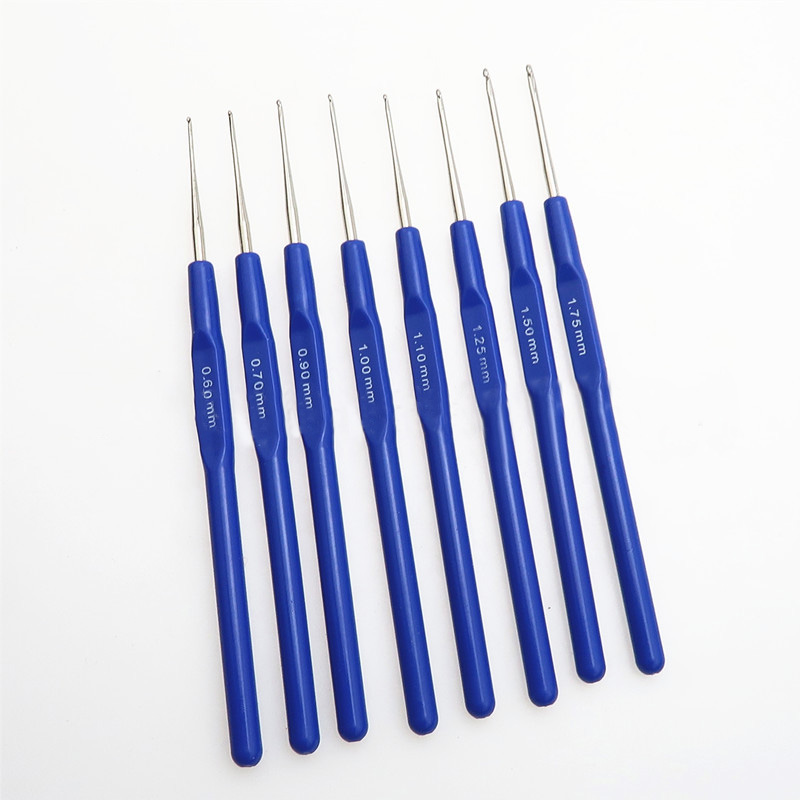 8Pcs 0.6-1.75mm Crochet Sewing Accessories Lace Hook Plastic Handle Handicraft Crochet Set Hand Weave Tool Knitting Needles