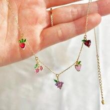 Lado brilhante novos acessórios de cristal corrente de frutas colares para as mulheres bonito cereja abacaxi uvas corrente pingente colares