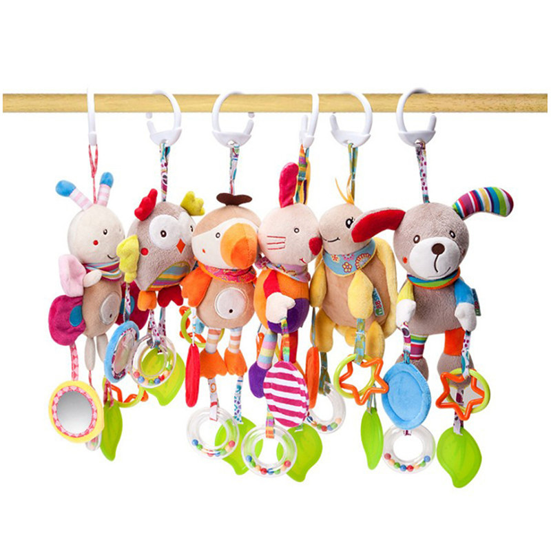 Baby Toys 0-12 Month Mobile Bed Hanging Cartoon Animal Rattles For Stroller Newborn Plush Toy Infant Babies Sensory Toys
