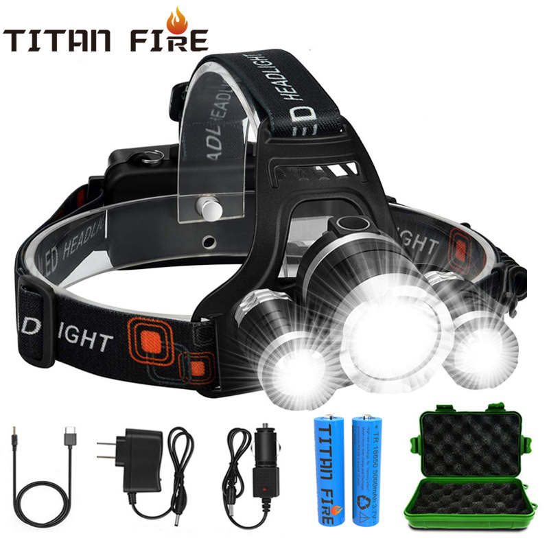 LED Headlamp High Lumens T6 Ultra Bright 3LED Headlight 4 Modes USB Rechargeable Waterproof Outdoor Flashlight Fishing Hunting