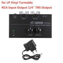 """Préamplificateur de préampli Phono PP500 avec contrôles de Volume de niveau sortie dentrée RCA Interfaces de sortie 1/4 """"TRS pour platine vinyle LP"""