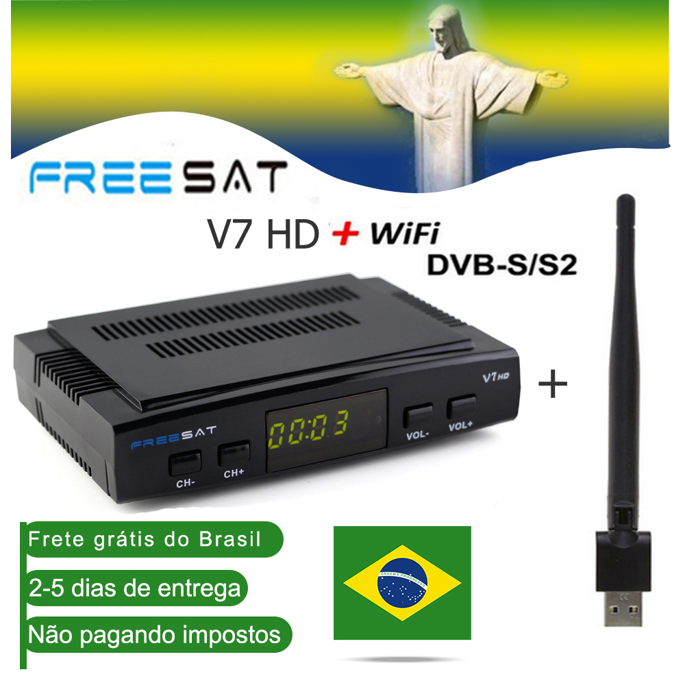Satellite TV Receiver Decoder V7 HD DVB-S2+USB Wfi Receptor Ship Brazil Europe Cline Account Support Powervu Freesat V8 Super