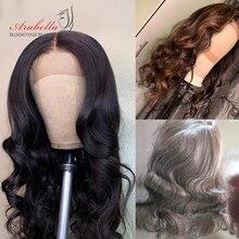 Объемный волнистый парик 180% плотность натуральный цвет remy волосы Arabella предварительно выщипанные с волосами младенца 4*4 закрытие шнурка человеческие волосы парики