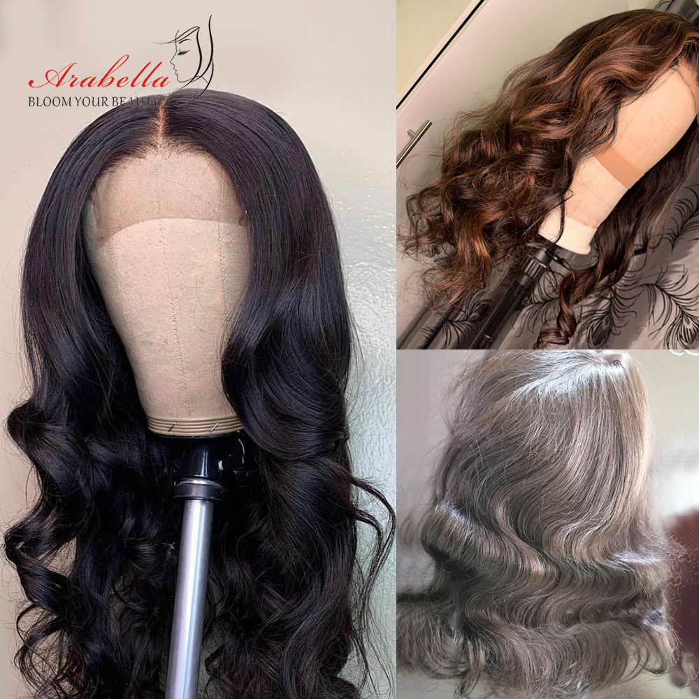 Body Wave Closure Wig 180% Density Natural Color Remy Hair Arabella Pre Plucked With Baby Hair 4*4 Lace Closure Human Hair Wigs