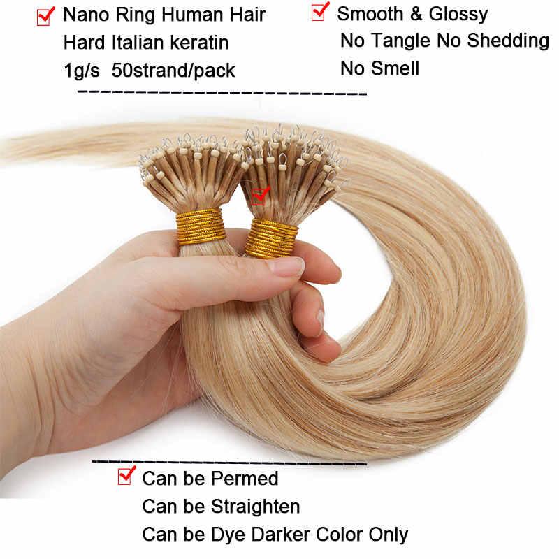 SEGO 16-24 cali 50 sztuk 1 g/s Nano ringi do przedłużania włosów Micro doczepy do włosów z koralikami nie Remy 100% ludzkich włosów pre-bonded prosto brazylijski
