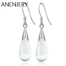 цены Simple Exquisite 925 Sterling Silver Jewelry Opal Moonlight Stone Water Drop Earrings brincos For Women Wholesale