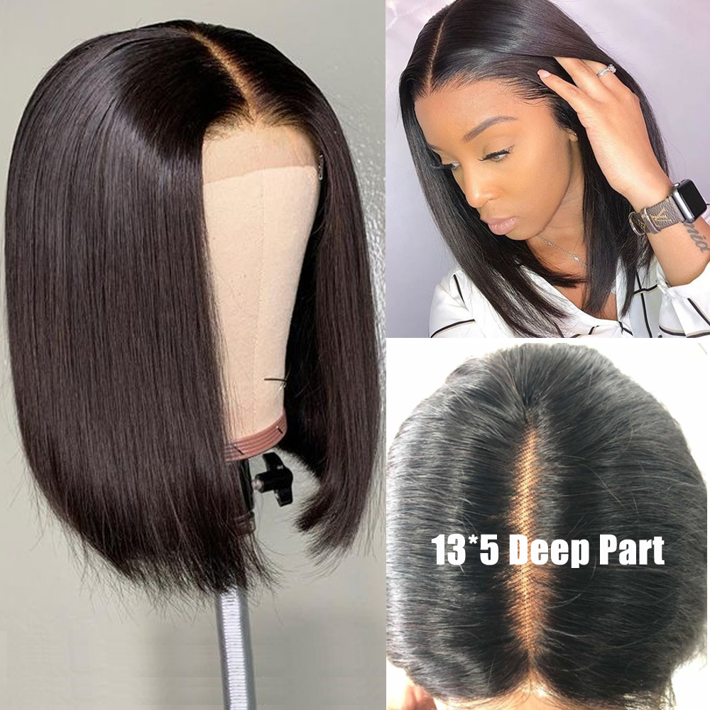 Brazilian Human Hair Wigs Straight Lace Front Wig 1Human Hair Bob Wigs 13x5 Lace Front Human Hair Wigs Lace Frontal Pre-Plucked