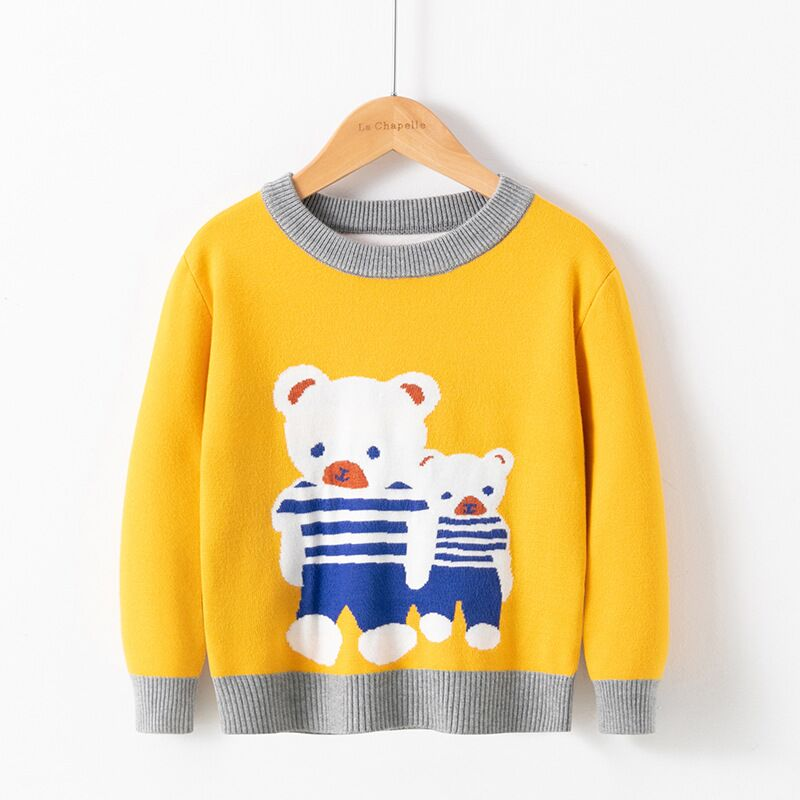 Children Sweater 2021 Autumn Cartoon Christmas Pullover Knit Warm Sweaters Birthday Costume Girls Boys Printing Sweaters Clothes 6