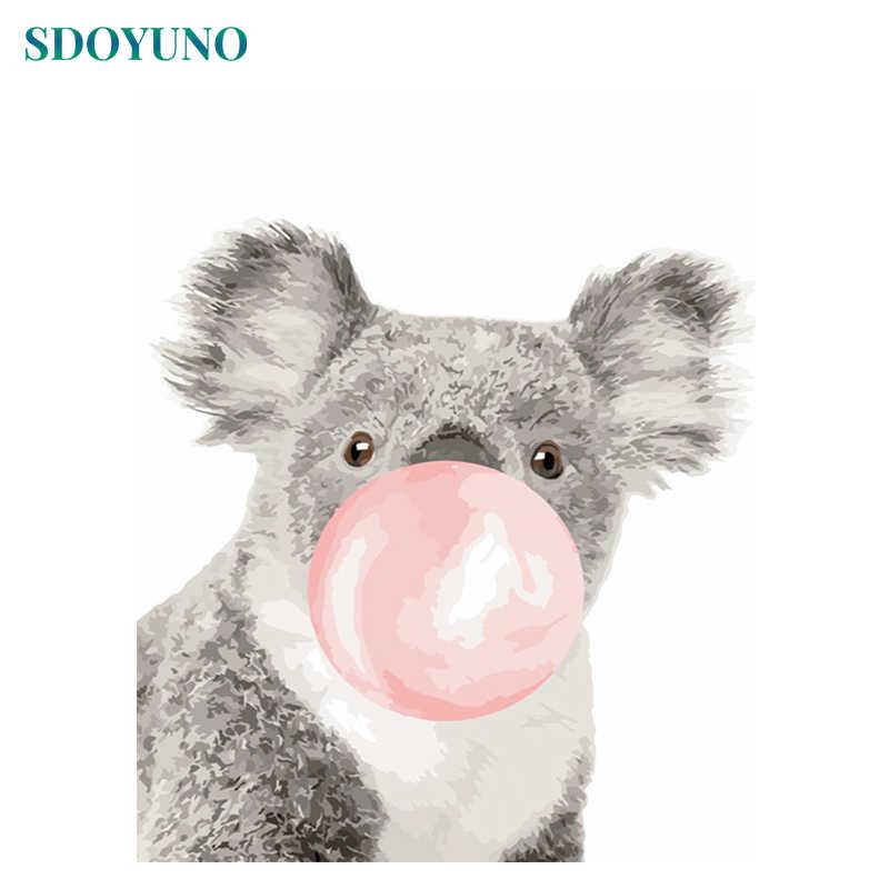 Sdoyuno DIY Lukisan dengan Angka Koala 60X75 Cm Tanpa Bingkai Foto dengan Angka Binatang Dinding Seni Dekorasi Rumah Unqiue hadiah