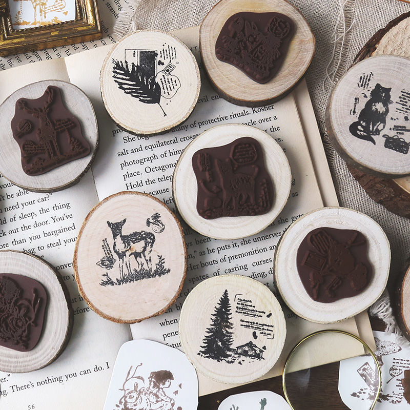 Forest Adventure Series Decoration Stamp Wooden Round Rubber Stamps For Scrapbooking Stationery DIY Craft Standard Seal