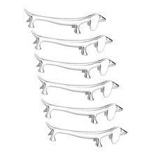 6 Pcs Chopsticks Rest Little Dog Chopsticks Holder Dachshund Zinc Alloy fork Stand Spoon Tableware Rack Holder Tool