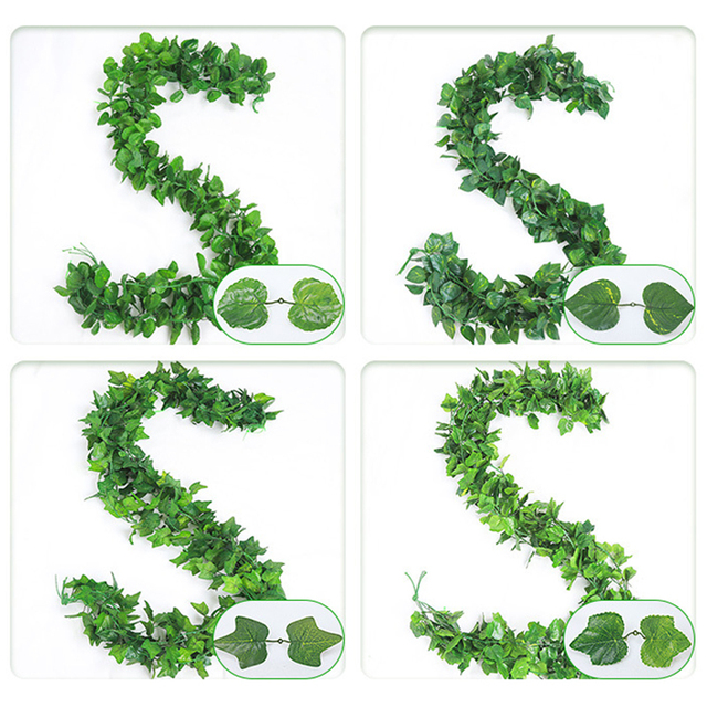 21 Style 1pc high quality Artificial plant Rattan ivy Creeper leaf Vivid Vine home Wedding wall decor garden festival decoration 2