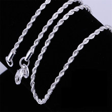 Hot sale Retail Wholesale silver Necklace Women Man necklace 2mm16,18,20,22,24 inch Twist Rope Chain jewelry accesory 925 stamp(China)