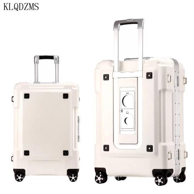"KLQDZMS KLQDZMS 20""24""29inch aluminum frame rolling luggage spinner on wheel men women carry on travel suitcase trolley bag 4"