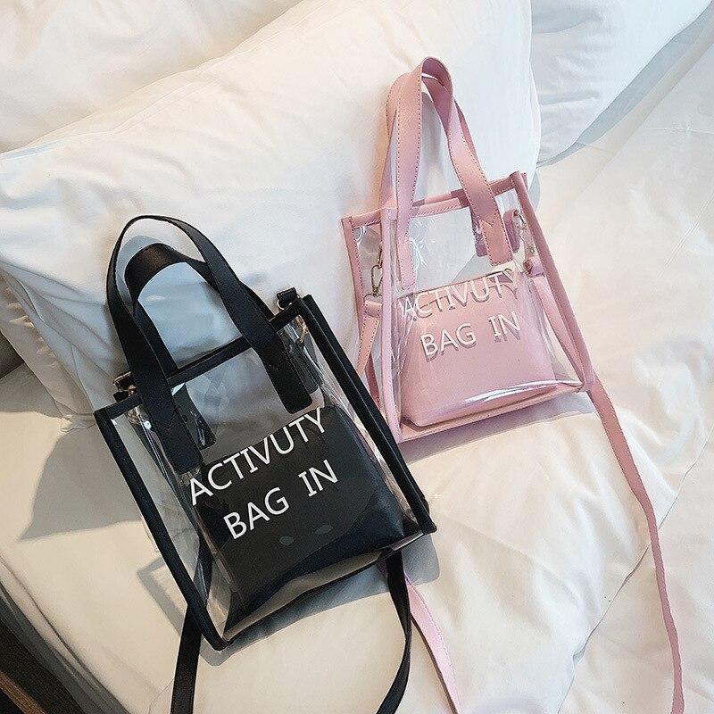 Korean Style Fashion Bags/Ladies Luxury Bags/Womans Handbag/Transparent Jelly Bag Women Crossbody Black