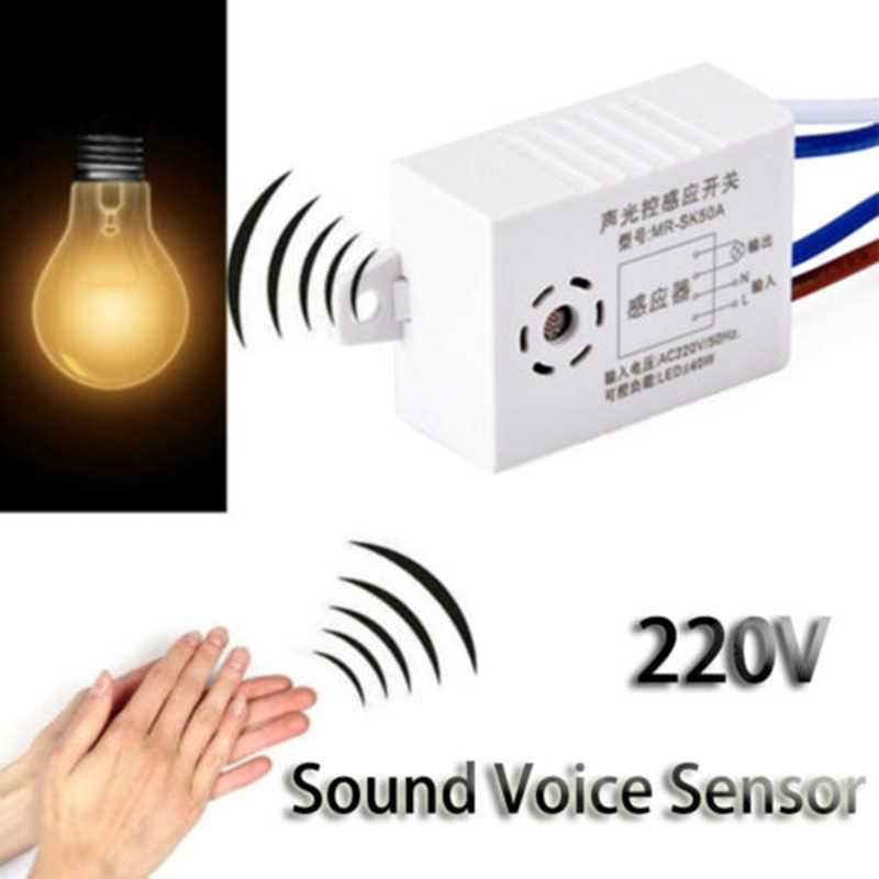 Nowy moduł detektora 220V Auto On Off inteligentny dźwięk głos światło na czujnik dla LED Downlights lampy sufitowe światła panelu