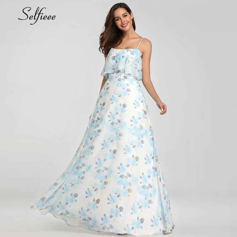 Casual Floral Printed Chiffon Maxi Dress Women A-Line Sleeveless Side Split Women Dress Sexy Summer Party Dress Robe Femme 2020 4