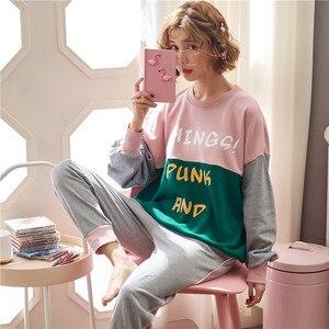 Image 5 - JRMISSLI conjuntos de pijamas de otoño para mujer, ropa de dormir de manga larga, 100% de algodón, para estar en casa