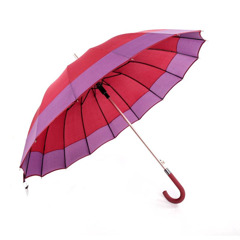 Factory Direct Selling Modern Minimalist Solid Color Edge Matching Umbrella 16 Bone Aluminium Alloy shang wu san Straight Umbrel