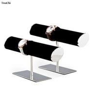 Metal Jewelry Display Stand T Bar Watch Bracelet Necklace Display Holder Black Watch Jewellery Organizer Showcase Rack
