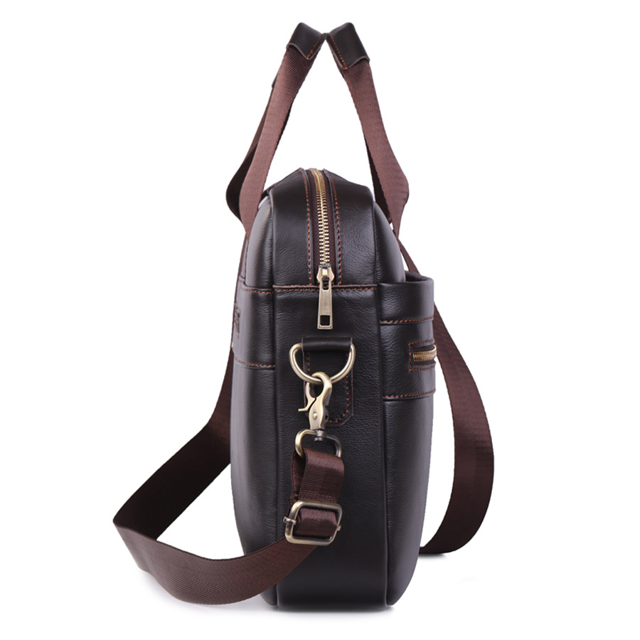 GO-LUCK Genuine Leather 15' Top-Handle Handbag Business Briefcase Men's Crossbody Shoulder Bag Men Messenger Bags Laptop Pack