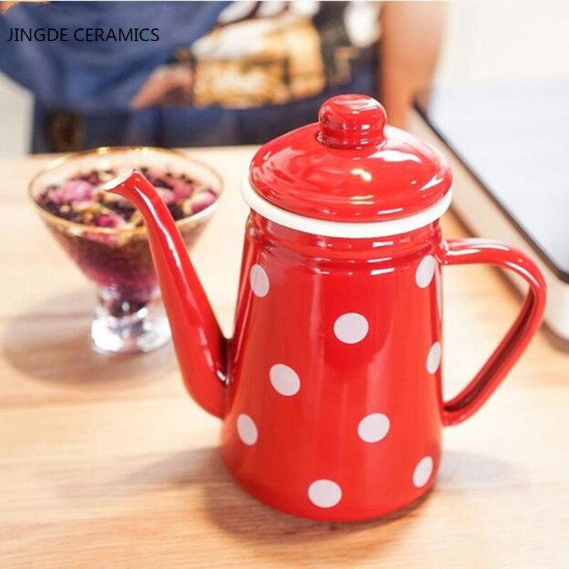Kettle 1.1L coffee teapot enamel fine-drip drip kettle induction cooker gas general coffee pot kitchen wedding supplies