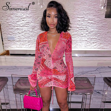 Simenual Deep V Neck Paisley Print Party Dresses Drawstring Mesh Flare Long Sleeve Transparent Club Outfit For Women Mini Dress