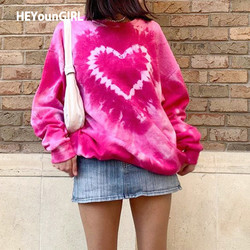 HEYounGIRL Die Dye Print Y2K Crewneck Sweatshirt Casual Fashion Sweat Pink Sweat Shirt Women Autumn Long Sleeve Pullover Hoodies