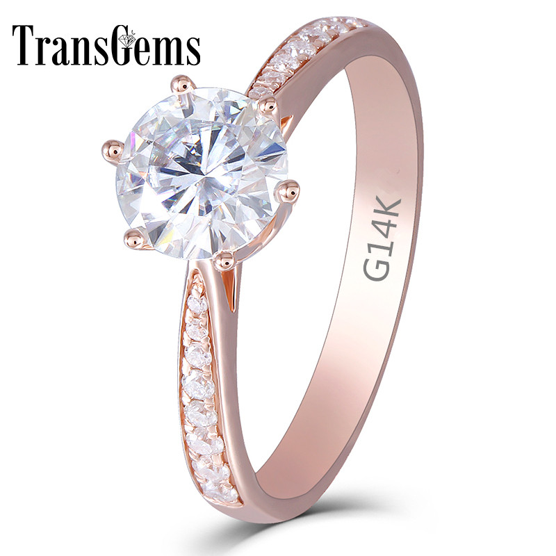 Transgems Center 1ct Rose Gold Enagement Ring for Women 14K 1 Carat 6.5MM F Color Moissanite Diamond with Accents