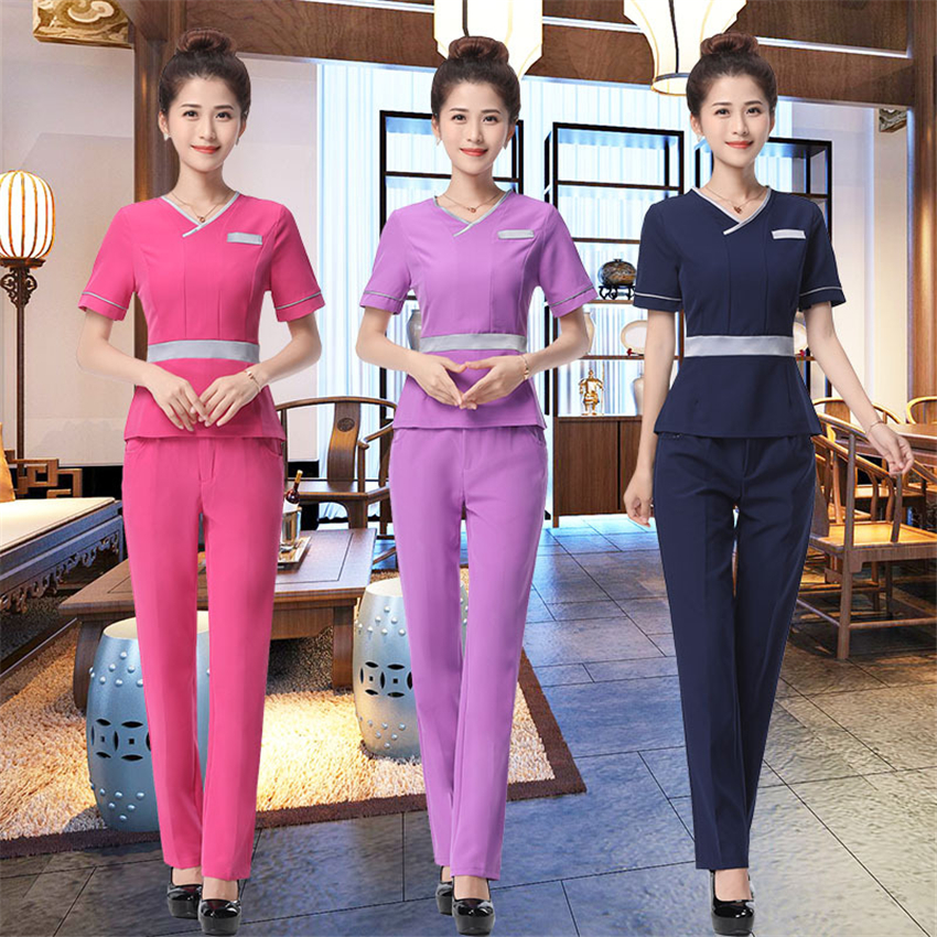 Spring Woman Spa Massage Beauty Salon Work Uniform Medical Hospital Nurse Dentist Suit V-neck 3Colors Wholesales Clothing