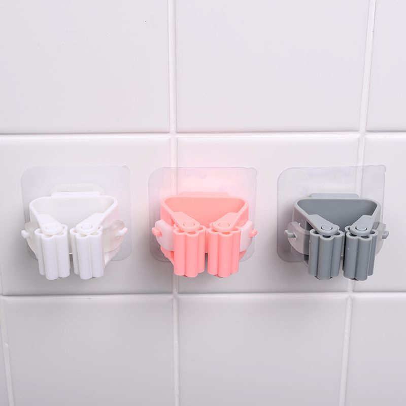 1pcs Mop Holder Rack Punch-free Strong Load-bearing Mop Clip Broom Holder Wall Mounted Mop Organizer Household Storage Holders