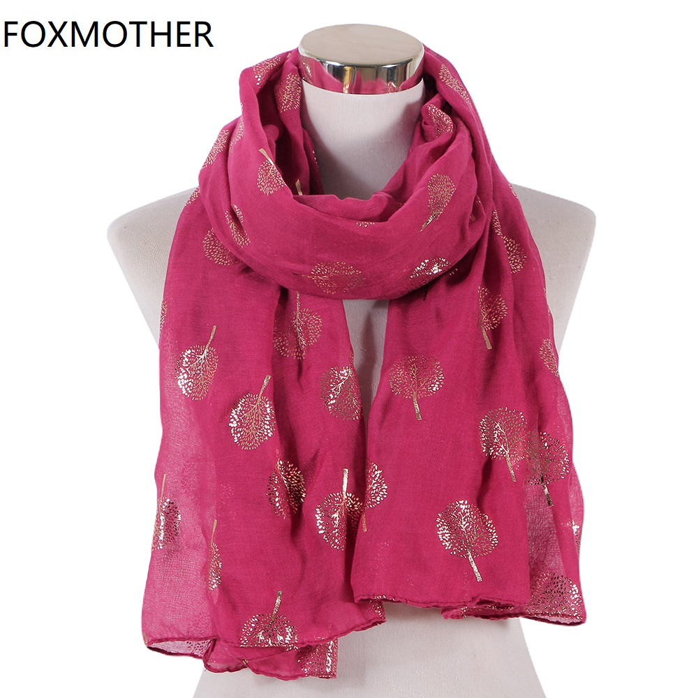 FOXMOTHER New Black White Pink Foil Gold Glitter Tree Scarves Women Wrap Shawl Bufandas Invierno Mujer Foulard Femme Scarf