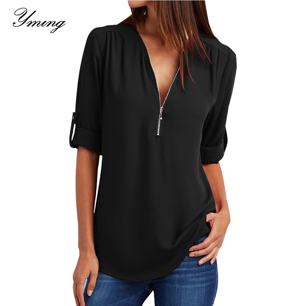 YMING Front Zipper Chiffon Blouse Women V-Neck Office Casual Female Ladies Tops Long Sleeve Blusas Shirts Vintage White Tunic
