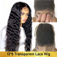 13*6 HD Transparent Lace Wigs With Baby Hair Deep Wave Brazilian Remy Human Hair Lace Front Wigs For Women Black Pre Plucked