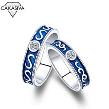925 Silver Vintage Blue Couple Ring Men and Women Open Ring Engagement Wedding Gift Jewelry