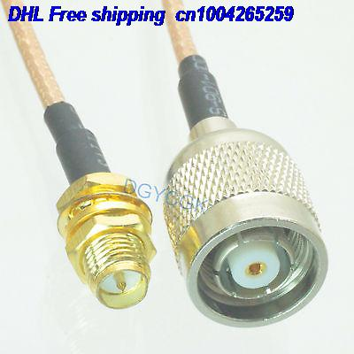 DHL 50pcs  RPSMA Female Bulkhead To RPTNC Male Straight RG316 Jumper Pigtail 3FT Cable 22j