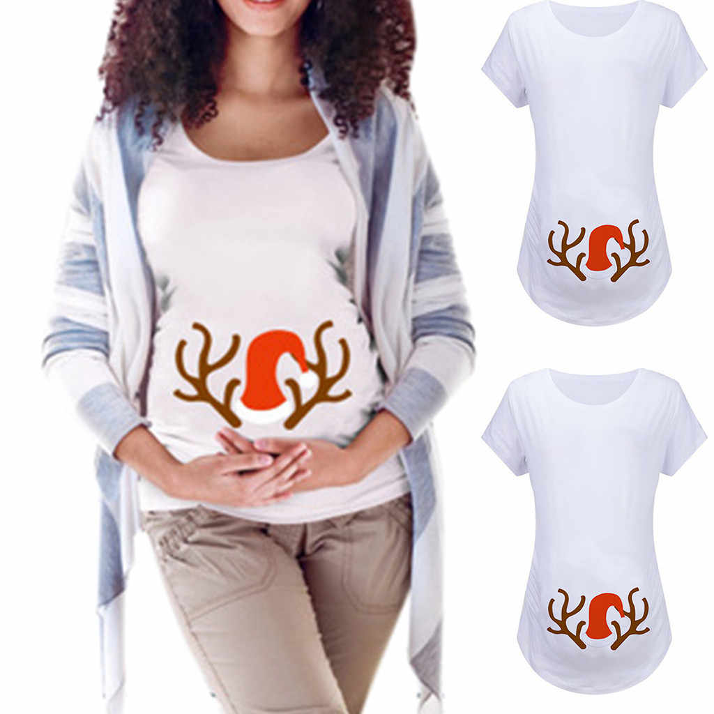 Feliz Navidad mujeres embarazadas hombre de nieve de Navidad encantador estampado cuello redondo manga corta Camisa maternidad superior camiseta moda venta 19Nov6