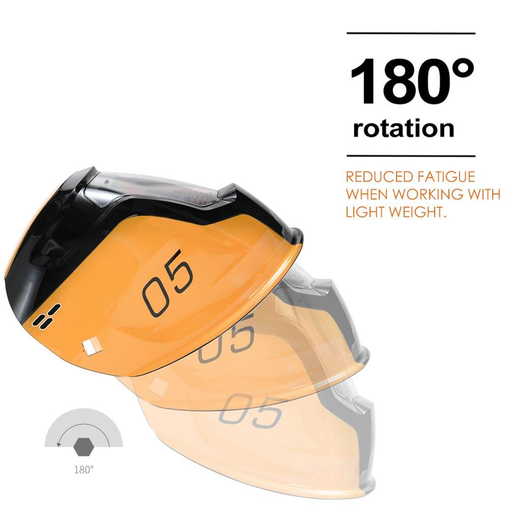 Capacete de solda em mudança automático da máscara da soldadura da luz da energia solar com 2 sensores do arco dos pces - 5