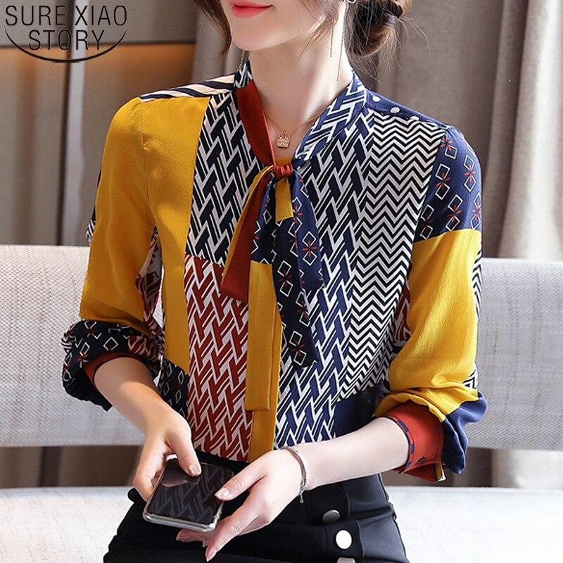 Fashion Print Blouses Women Bow Silk Shirts 2021 Autumn Long Sleeve Shirt Women Harajuku Shirts Blusas Mujer De Moda 10739 2