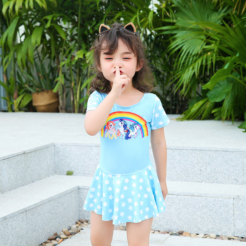 Little Princess Sweet KID'S Swimwear Color Stripes Candy-Colored Girls Dress-Siamese Swimsuit Small Children Hot Springs Bathing