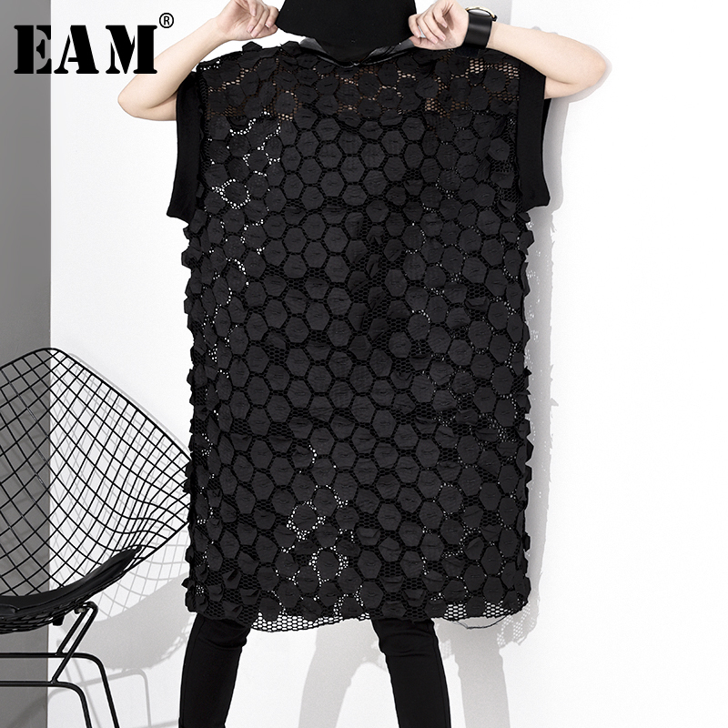 [EAM] Women Black Hollow Out Patch Stitch Big Size Dress New Hooded Short Sleeve Loose Fit Fashion Tide Spring Autumn 2020 1S058