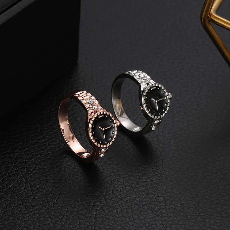 חדש כסף עלה זהב שעון סגנון טבעת תכשיטי שחור אמייל תכשיטים חתונה אצבע טבעת נשים אנל Feminino סיטונאי