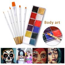 12 Colors Flash Tattoo Face Palette Body Paint Painting Play Clown Halloween Makeup Brush Set